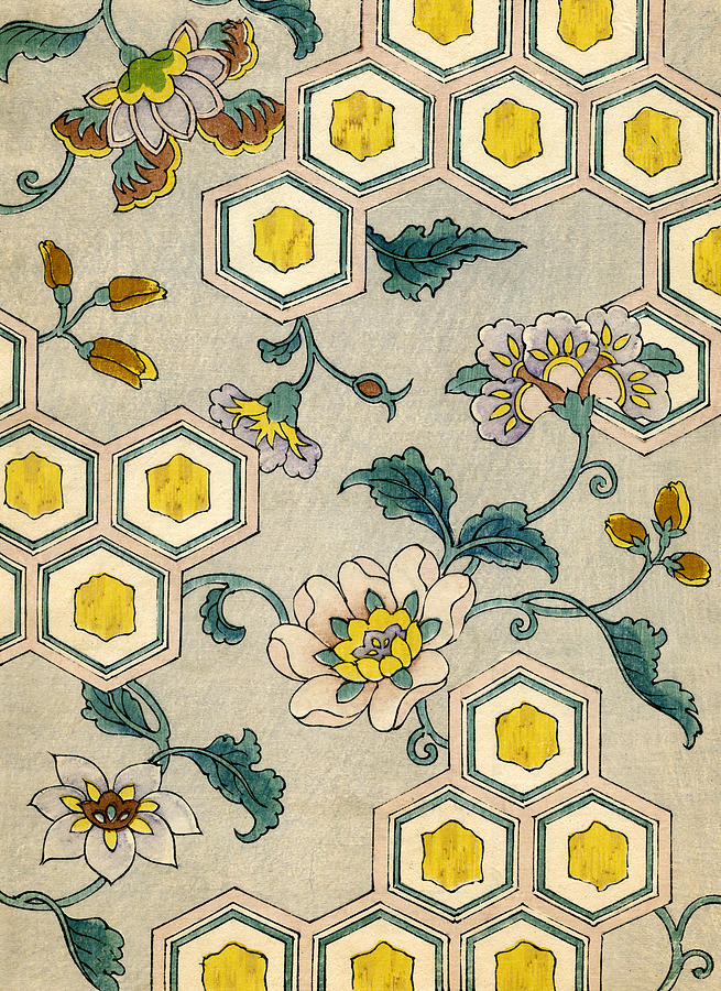 Japanese Painting - Vintage Japanese Illustration Of Blossoms On A Honeycomb Background by Japanese School
