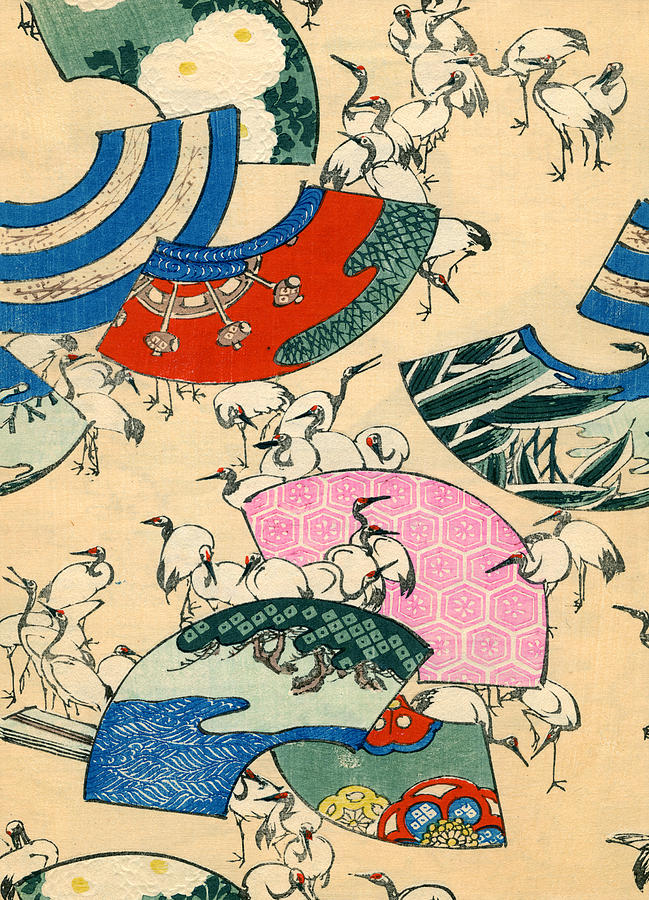 Vintage Japanese Illustration Of Fans And Cranes Painting