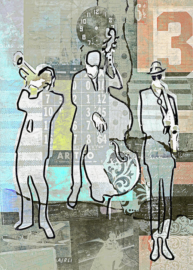 Vintage Digital Art - Vintage Jazz Trio by Regina Wyatt