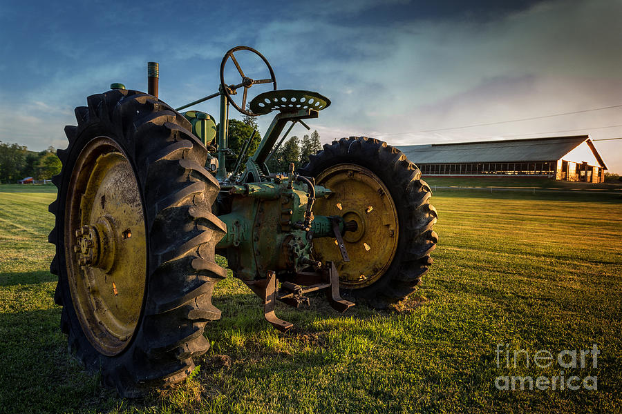 Tractor Photograph - Vintage John Deere At Sunset by Edward Fielding