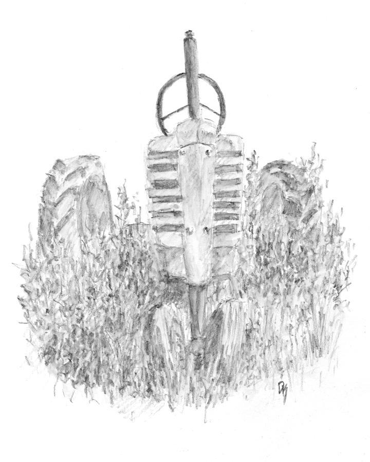vintage john deere tractor sketch drawing by david king