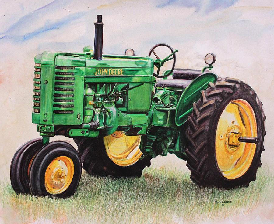 Vintage John Deere Tractor Painting by Toni Grote