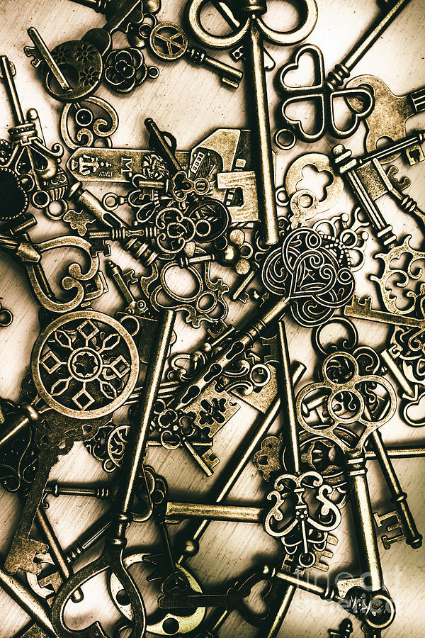 Skeleton Photograph - Vintage Keys On Wooden Table by Jorgo Photography - Wall Art Gallery