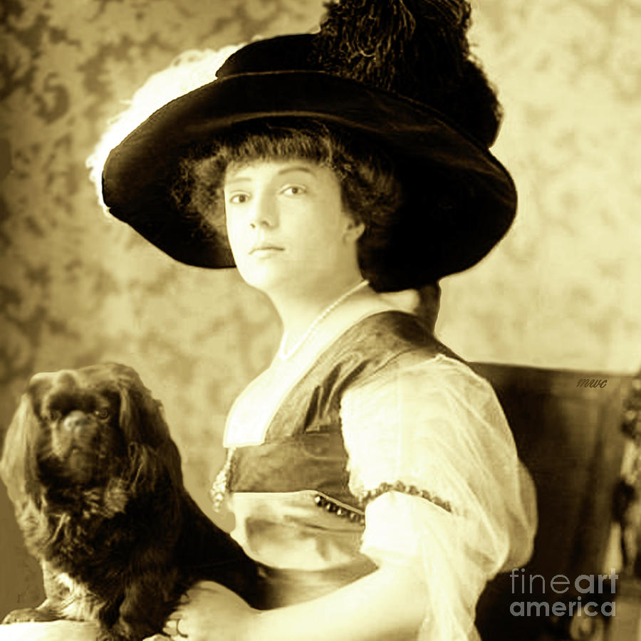 Vintage Lady With Lapdog by Marian Cates