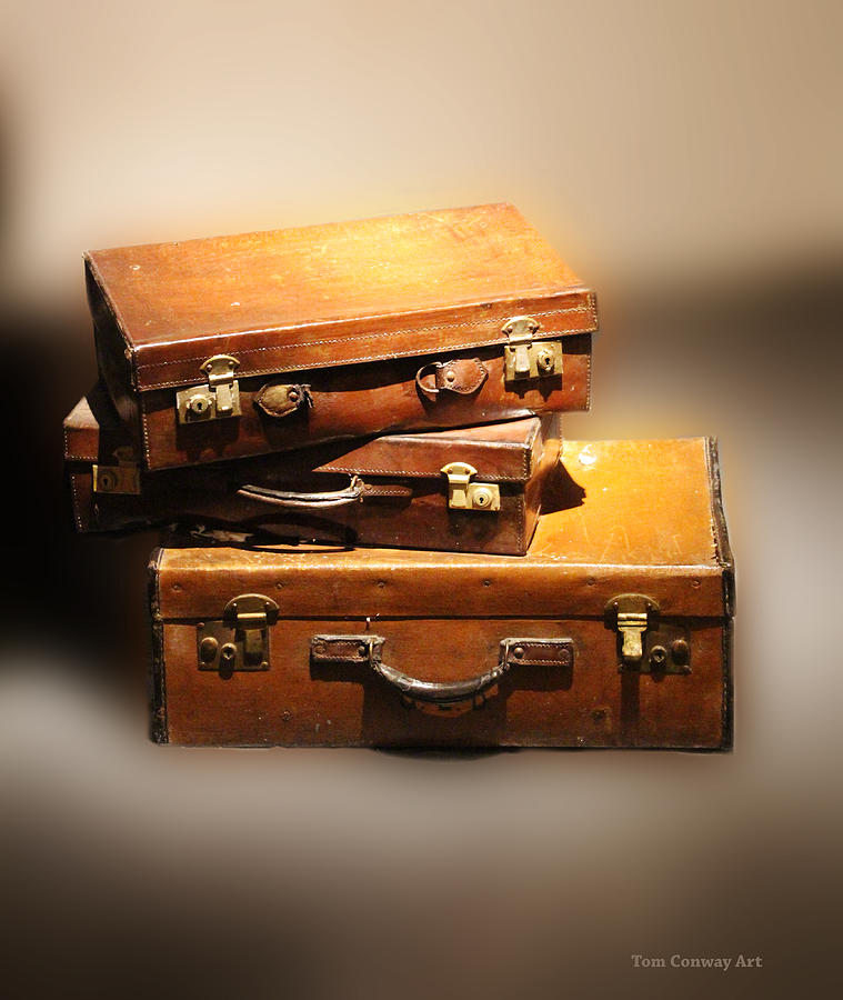 Suitcase Photograph - Vintage Leather Suitcases by Tom Conway