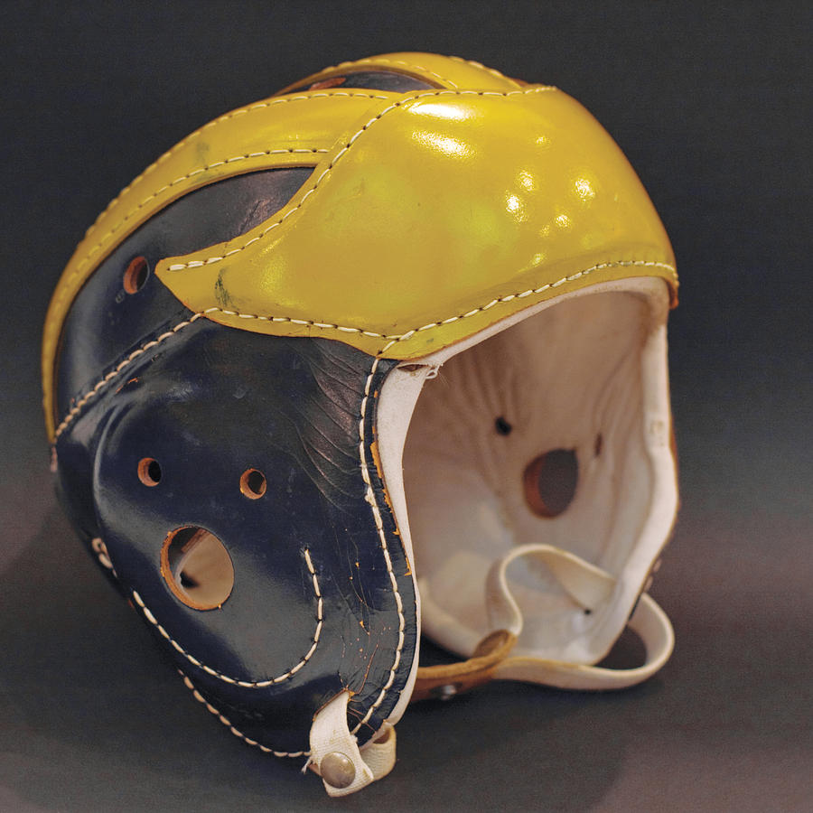 Vintage Leather Wolverine Helmet by Michigan Helmet