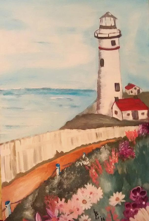 Lighthouse Painting - Vintage Lighthouse by Lee Green