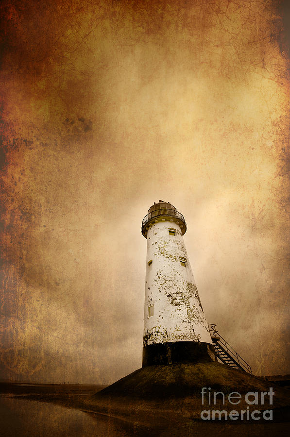Aged Photograph - Vintage Lighthouse by Meirion Matthias