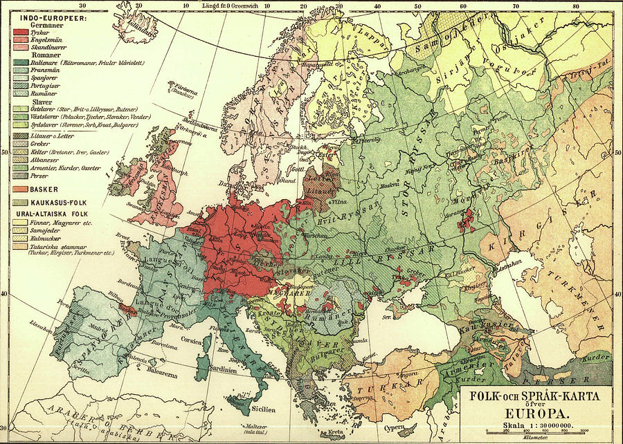 Vintage Linguistic Map Of Europe  1907 Drawing by