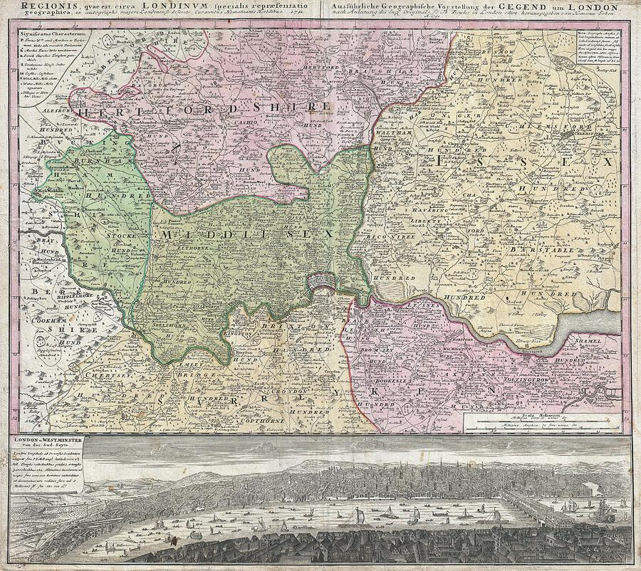 Vintage London England Regional Map 1741 Drawing By