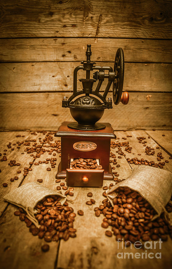 Coffee Photograph - Vintage Manual Grinder And Coffee Beans by Jorgo Photography - Wall Art Gallery