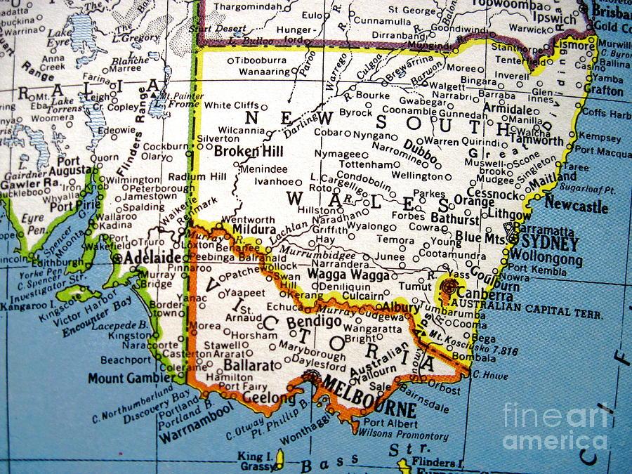Melbourne Map Australia.Vintage Map Australia Sydney Melbourne By Camryn Zee Photography