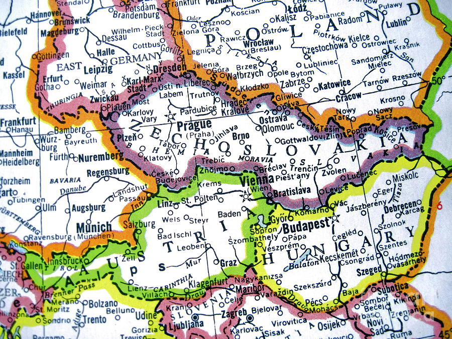 czechoslovakia photograph vintage map czechoslovakia austria hungary poland and east germany