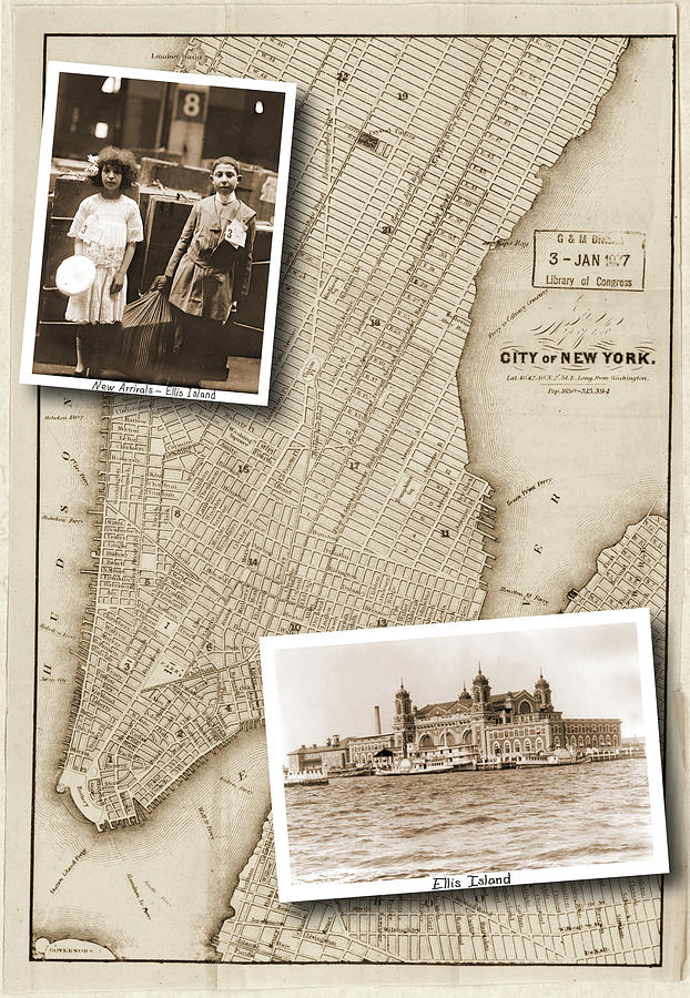 Vintage Map Photograph - Vintage Map Ellis Island Immigrants by Karla Beatty