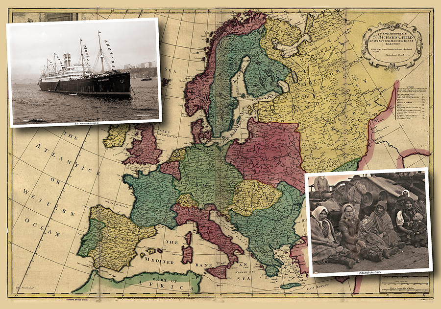 Vintage Photograph - Vintage Map Europe Immigrants by Karla Beatty