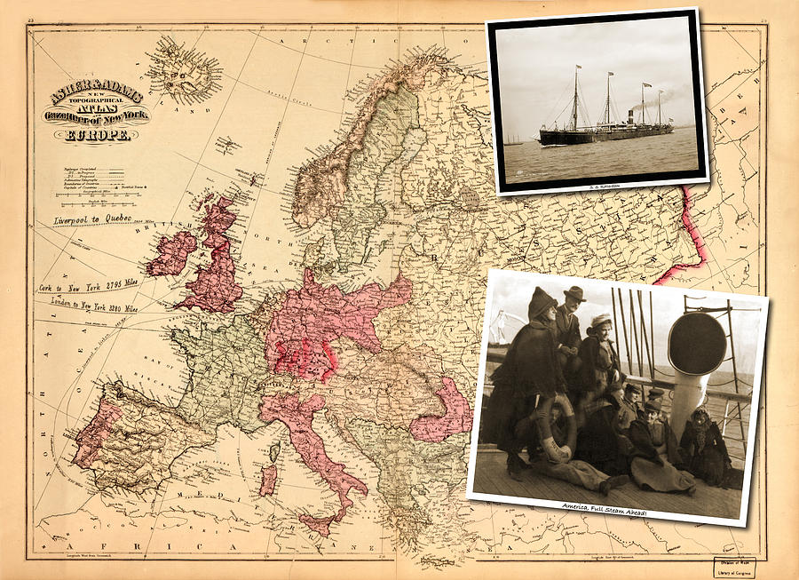 Vintage Photograph - Vintage Map Europe to New York by Karla Beatty
