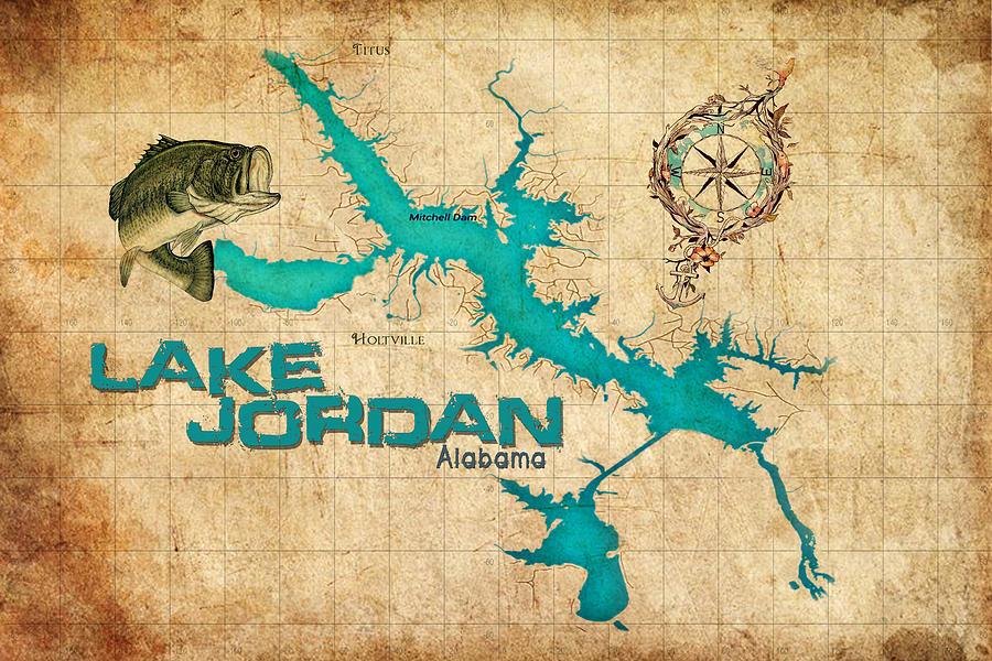 Vintage Map - Lake Jordan Al Digital Art by Greg Sharpe