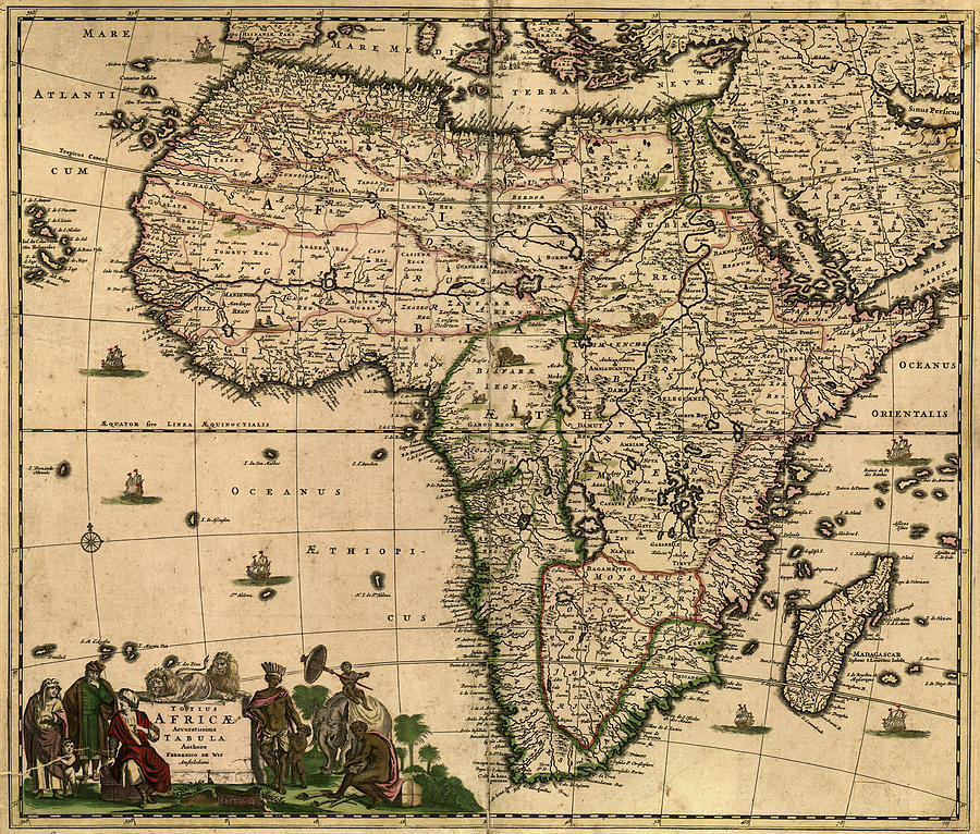 Vintage Map Of Africa 1688 Drawing by CartographyAssociates