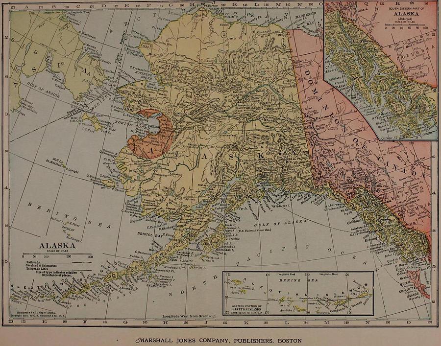 Vintage Map Of Alaska - 1910 Drawing