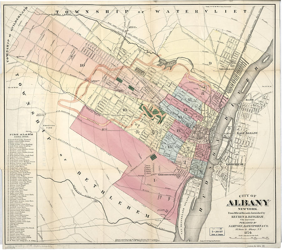 Vintage Map Of Albany Ny Drawing by CartographyAssociates