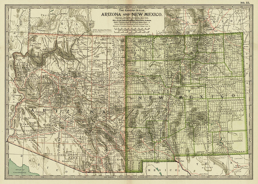 Vintage Map Of Arizona And New Mexico - 1899 Drawing by ...