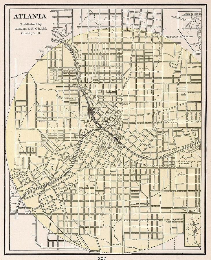 Vintage Map Of Atlanta Georgia