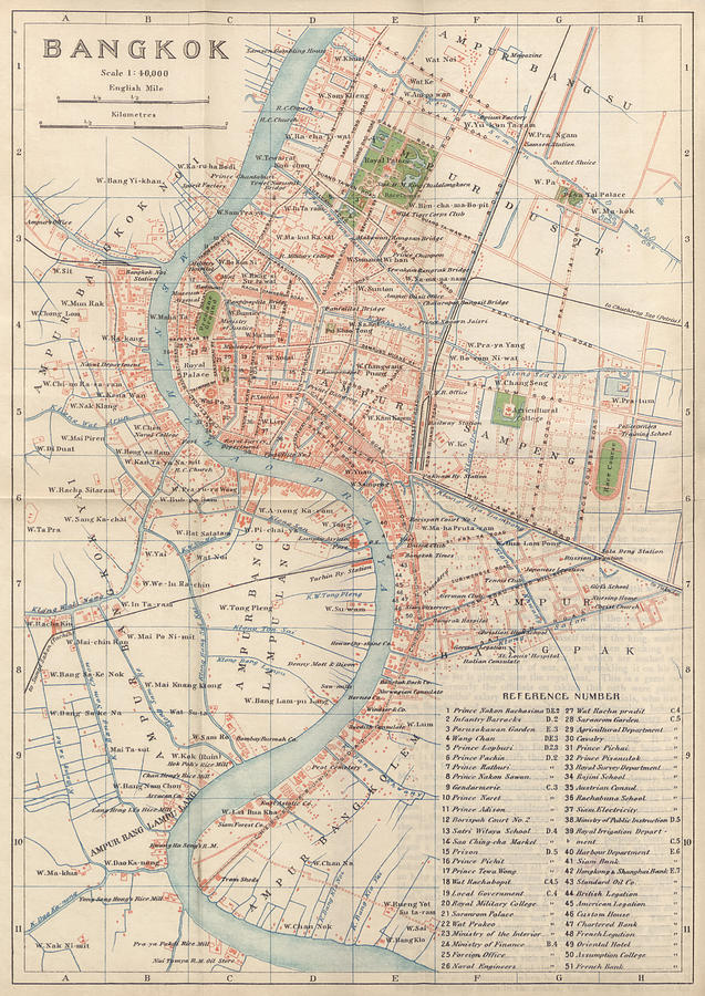 Vintage Map Of Bangkok, Thailand From 1920 Drawing by Blue Monocle