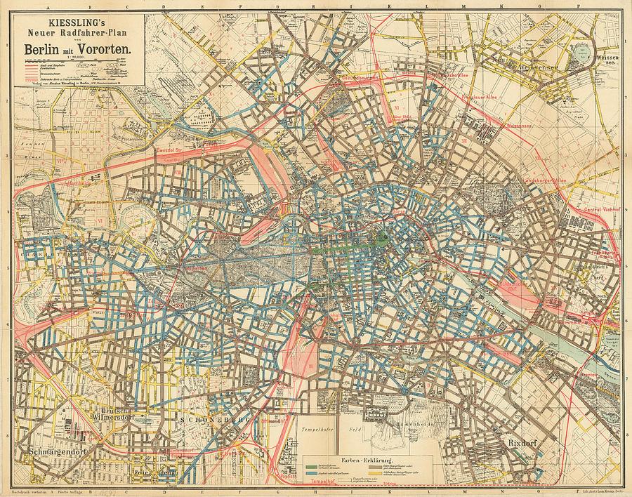Vintage Map Of Berlin Germany Drawing By CartographyAssociates - Vintage map berlin