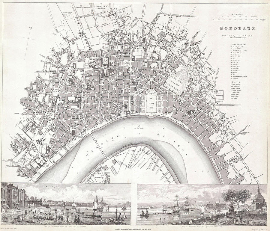 Vintage Map Of Bordeaux France 1832 Drawing By