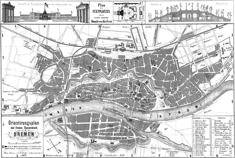 Vintage Map Of Bremen Germany 1865 Drawing By