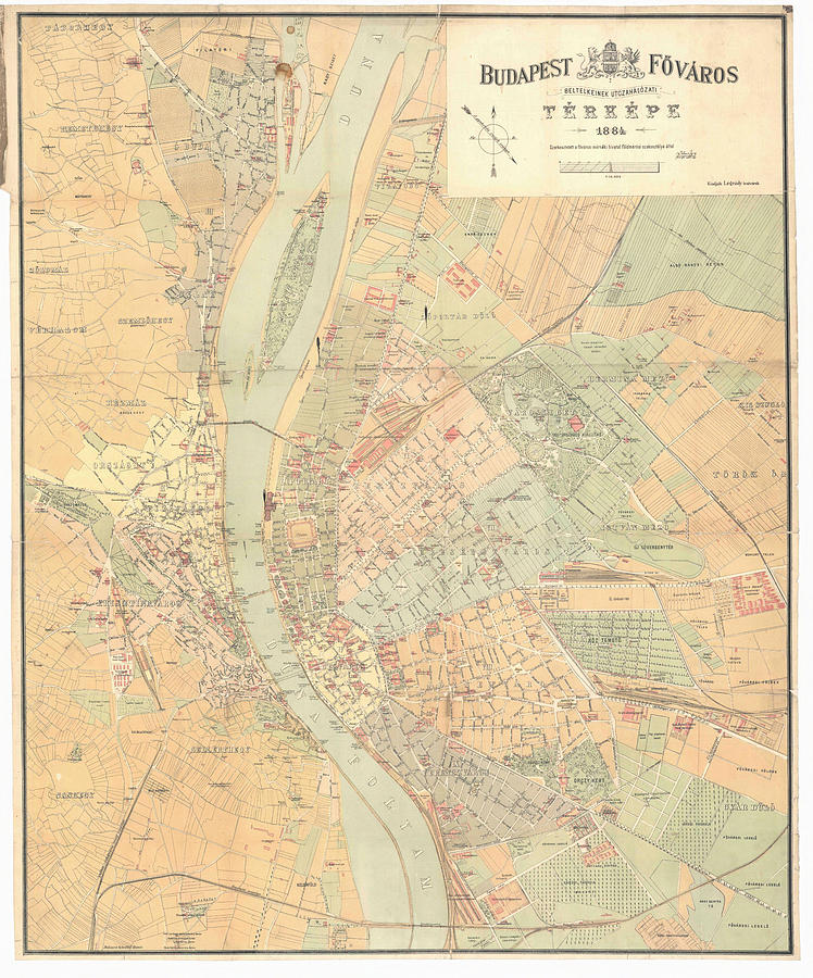 Vintage Map Of Budapest Hungary Drawing By CartographyAssociates - Vintage budapest map