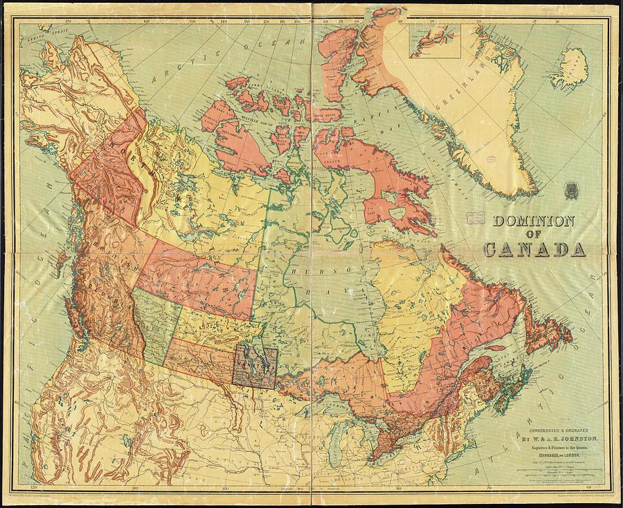 Vintage Map Of Canada Vintage Map of Canada   1898 Drawing by CartographyAssociates
