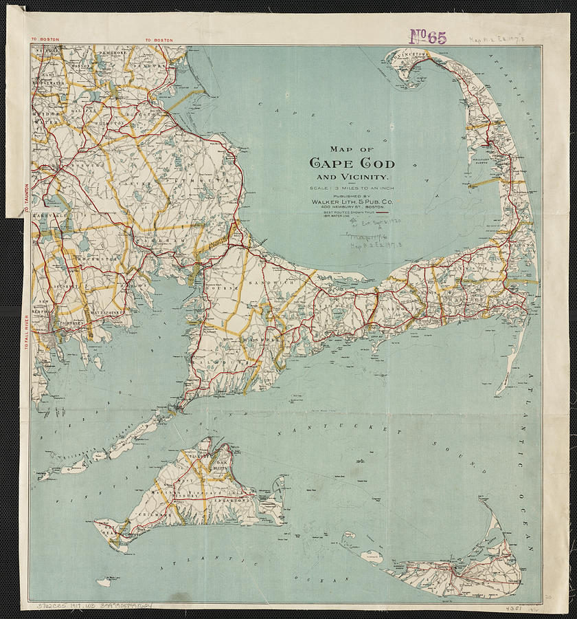 Vintage Map Of Cape Cod - 1917 Drawing by CartographyAssociates