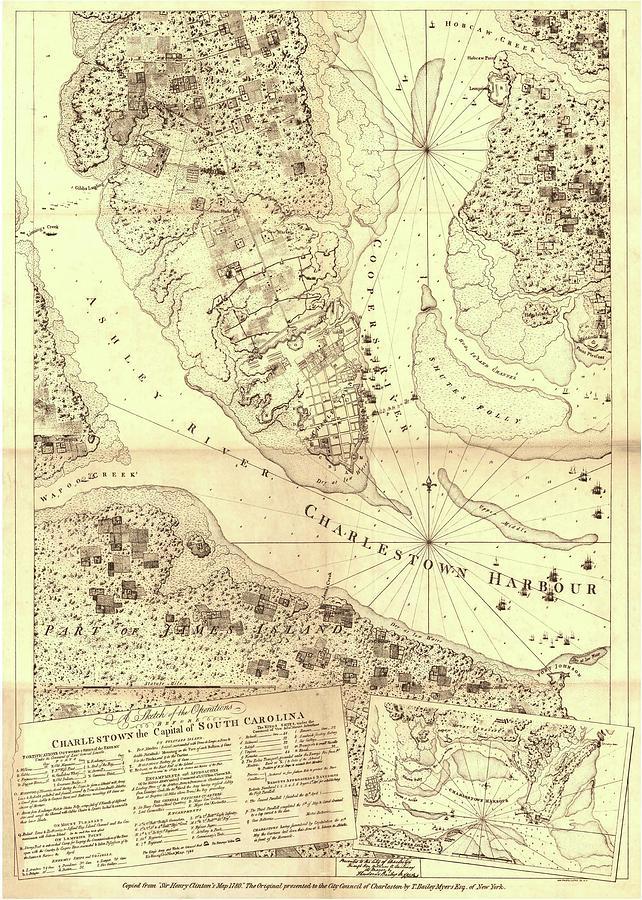 Vintage South Carolina Map.Vintage Map Of Charleston South Carolina 1780 Drawing By