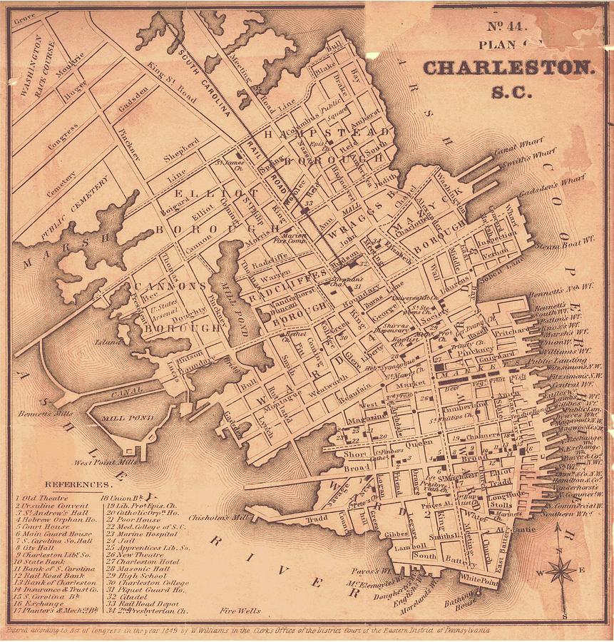 Vintage South Carolina Map.Vintage Map Of Charleston South Carolina 1849 Drawing By