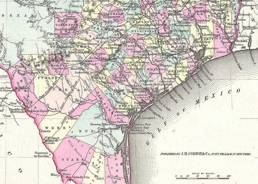 Vintage Map Of Coastal Texas Drawing By Cartographyassociates