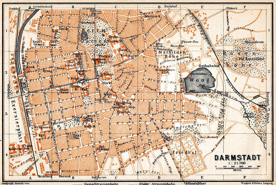 Vintage Map Of Darmstadt Germany Drawing By Cartographyassociates