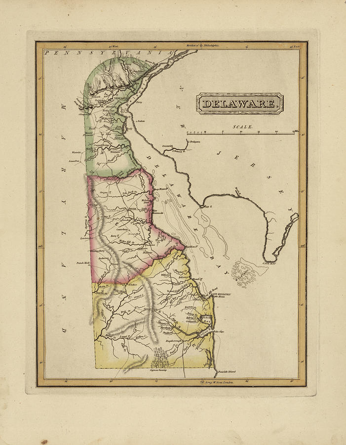 19th Century Painting - Antique Map Of Delaware by Fielding Lucas