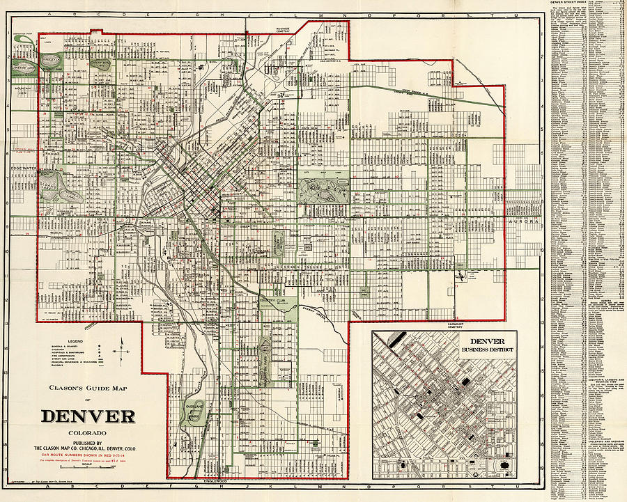Vintage Map Of Denver Colorado Drawing by CartographyAssociates