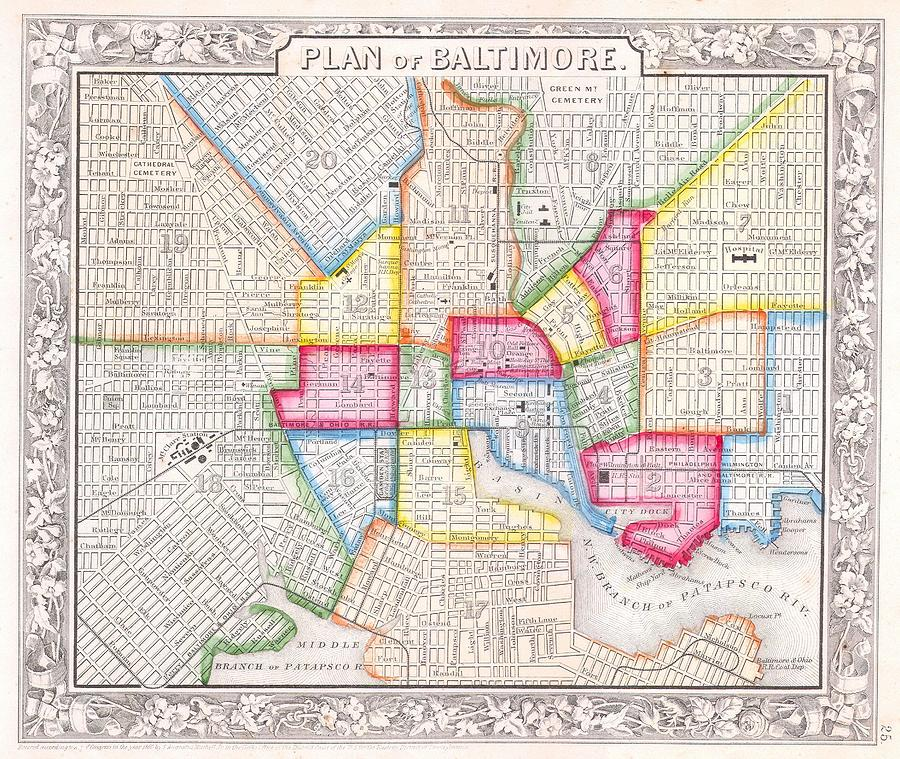 Vintage Map Of Downtown Baltimore Drawing by ... on
