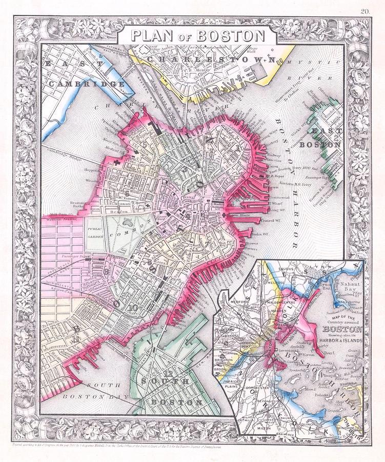 Vintage Map Of Downtown Boston