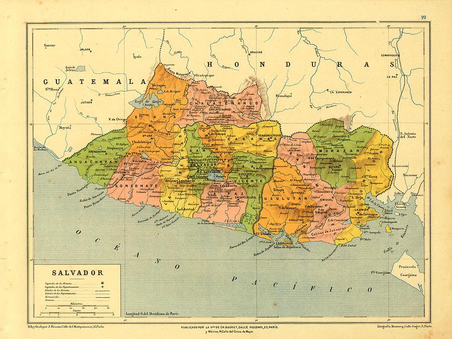 Vintage Map Of El Salvador Digital Art by Carambas Vintage