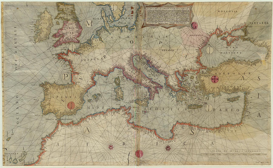 Vintage Map Of Europe And The Mediterranean - 1569 Drawing by ...