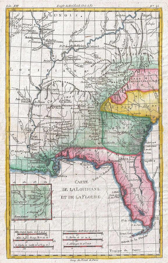 Map Of Florida Georgia.Vintage Map Of Florida Georgia And The Carolinas Drawing By
