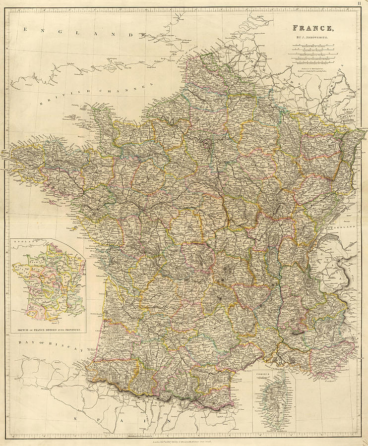 Map Of France Drawing.Vintage Map Of France 1834 By Cartographyassociates