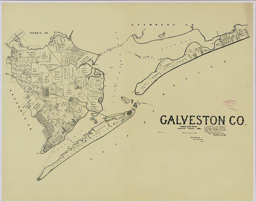 Vintage Map Of Galveston Texas 1892 Drawing By Cartographyassociates