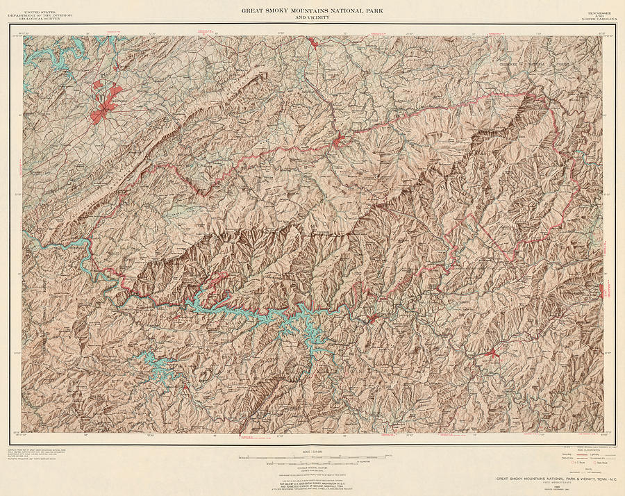 Vintage Map Of Great Smoky Mountains National Park - Usgs ...