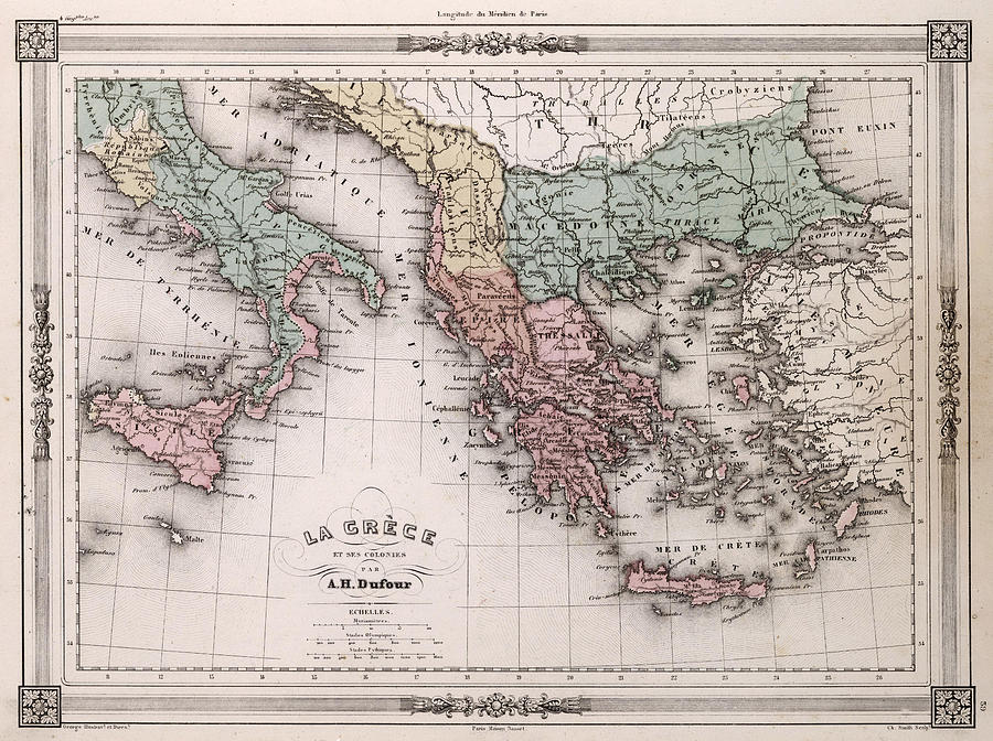 Vintage Map Of Greece And Italy - 1852 Drawing by CartographyAssociates