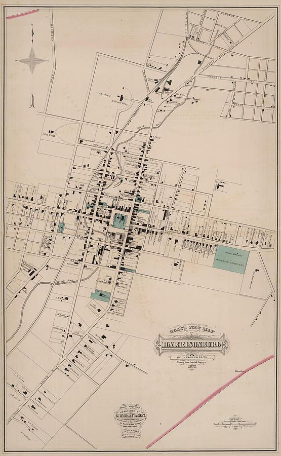 Vintage Map Of Harrisonburg Virginia 1877 Drawing By