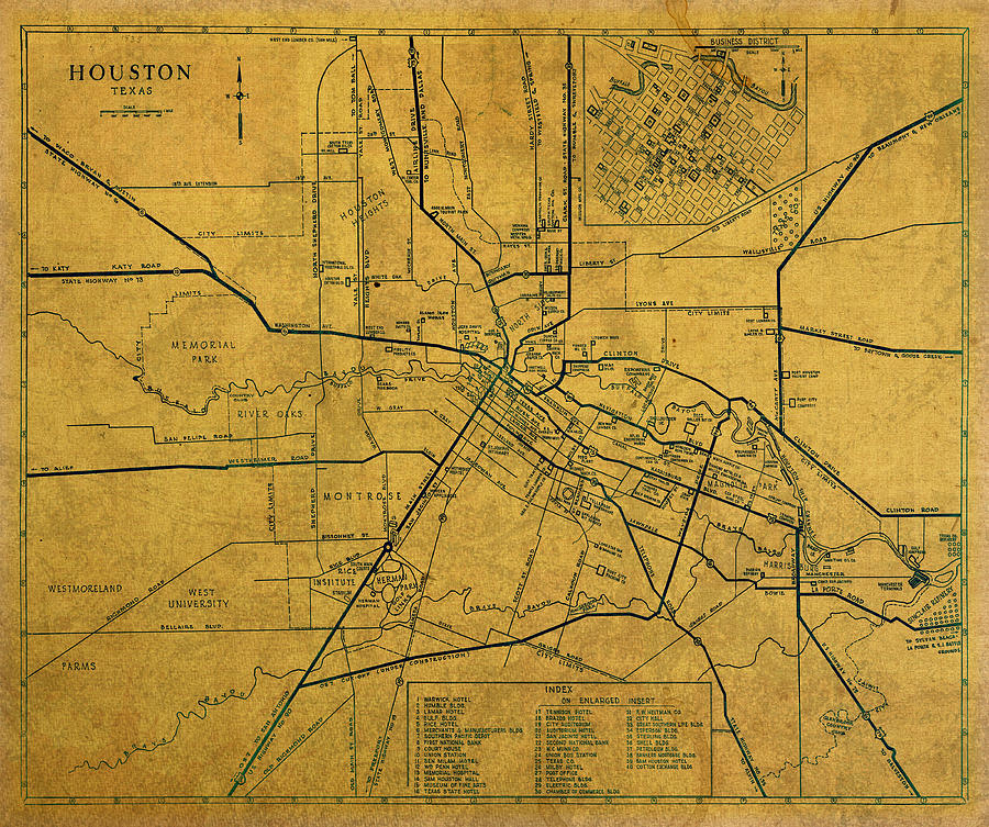 Vintage Map Of Houston Texas City Schematic On Worn Old Parchment